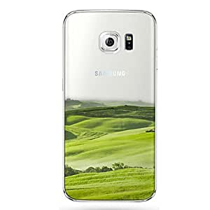 QHY 20150511 Green Pattern Slim Transparent TPU Material Phone Case for Samsung Galaxy S6 edge