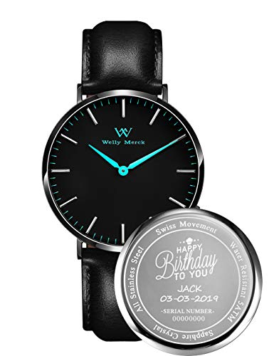 Welly Merck Custom Engraved Watches for Men Stainless Steel Personalized Gifts for Son Father Husband Boyfriend Birthday Gifts for Men, Father's Day Gift