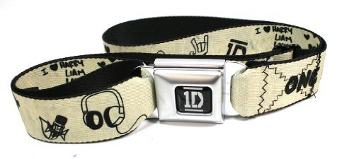 One Direction I Heart 1D Cream Seatbelt Belt (One Direction Adult Clothing compare prices)