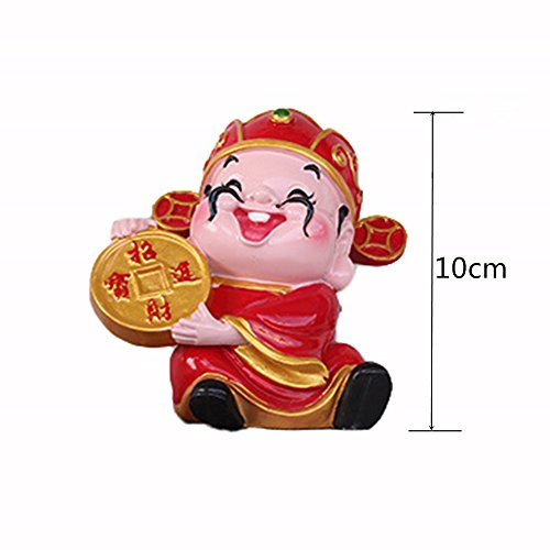 QOCOO Home & Office Decor Resin Sculpture Feng Shui Ornament Mascot Cartoon Ancient Coin God of Wealth Tsai Shen Yeh Statue, Cute Figurine for Attract Fortune Money Luck and Success