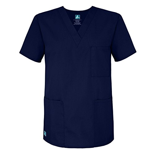 Adar Universal Unisex V-Neck Tunic 3 Pocket Scrub Top (Available in 39 Colors) - 601 - Navy - L