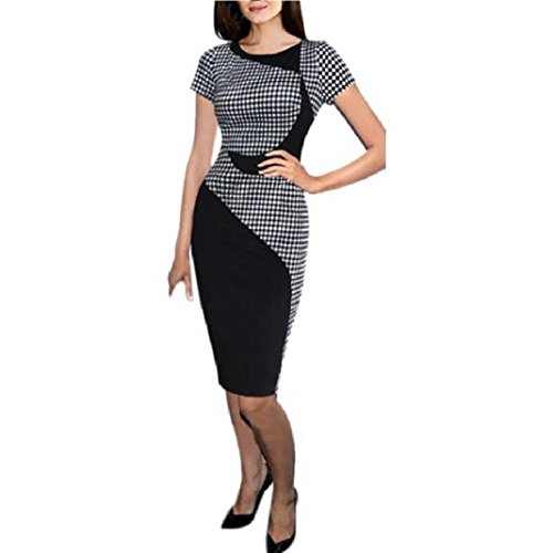 Misaky Women Short Sleeve Sexy Dress Office Bodycon Dresses (Asian L, Black) (Dress Sales Australia)