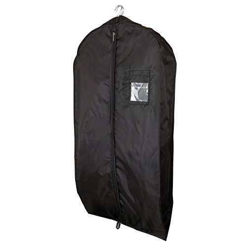 "Hangerworld Super Strong Waterproof Black Nylon Suit Cover Bag - 44"" with 6"" Gusset - Holds Several Garments"