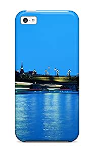 Iphone 5c Case Cover - Slim Fit Tpu Protector Shock Absorbent Case (paris In The Evening Eiffel Tower Side Bridge Street Lights Nature Other)