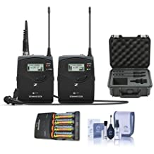 Sennheiser EW 112P G4-G Camera Lavalier Set, Bodypack Transmitter, ME 2 Lav Omni Mic, G: 566 608 MHz - Bundle with 4 AA NiMH Batteries, Charger, SKB iSeries Waterproof Case, Pro Optic Cleaning Kit
