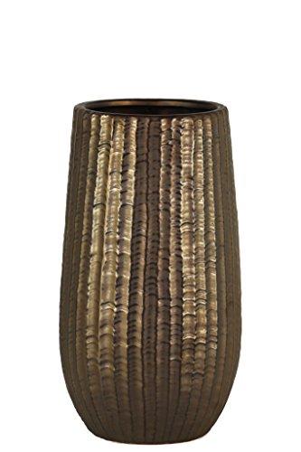 Urban Trends Stoneware Cylindrical Engraved Lattice Zigzag Design Body and Tapered Bottom SM Matte Finish Bronze Vase, ()