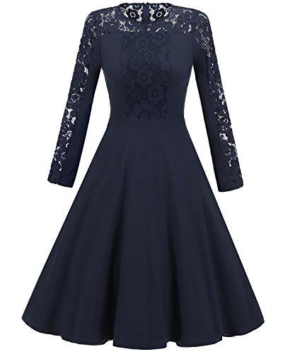 Floral Aecibzo Lace Cocktail Navy Long Women's Vintage Contrast Dress Party Sleeve qxRxZ6w4