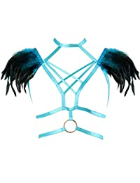 Jade Green Feather Body Harness Cage Bra Strap Top Goth Fetish Wear Plus Size