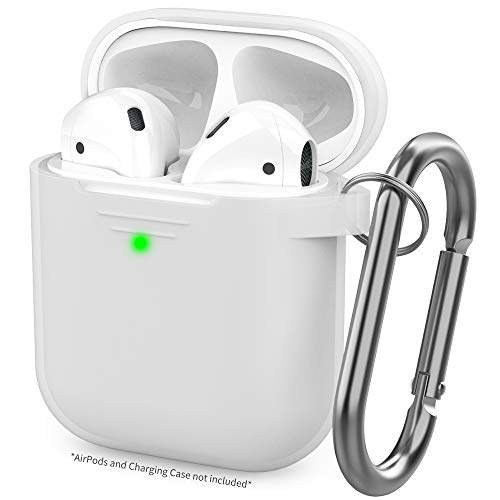 AhaStyle Upgrade AirPods Case Protective Cover [Front LED Visible] Silicone Compatible with Apple AirPods 2 & 1(Clear)