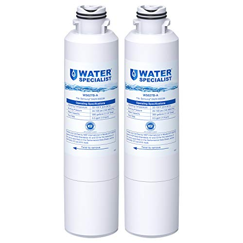 Waterspecialist NSF 53&42 Certified DA29-00020B Refrigerator Water Filter, Replacement for Samsung HAF-CIN, HAF-CIN/EXP, DA29-00020A/B, DA97-08006A, DA2900020B, RF28HMEDBSR, RF4287HARS (Pack of 2) (Rf4287hars Xaa Water Filter)