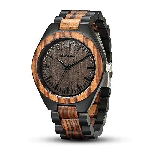 Wood Watches, shifenmei Natural Handmade Wooden Watch Analog Japanese Quartz Movement Wood Watch Mens with Exquisite Box (Zebra Wood-Black)
