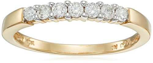 10k Gold Round 7-stone Diamond Ring (1/4 cttw, H-I Color, I2-I3 Clarity) by Amazon Collection