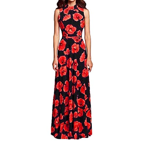 Women's Elegent O-Neck A-line Dress Casual Floral Vintage Evening Party Long Dress (Black, S) by Sihand (Image #7)