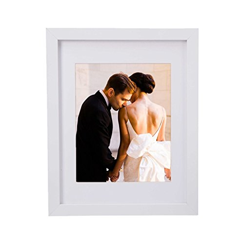 Lebather 11 x 14 Inch Wall & Table Picture Frames,Made to Display Photos/Pictures/Poster 8x10 Inch with Mat or 11x14 Inch Without Mat,Wide Board and Not Pull Down Design (1 Pack, White)