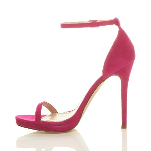 Womens Ladies high Heel peep Toe Barely There Ankle Strap Buckle Sandals Size Fuchsia Suede ssTMKo