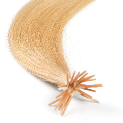 22 Pre Bonded Hair Extensions Stick-Tip-#24 Light Blonde-100% Human REMY Hair-Grade AAA-0.6g x25 strands by happyqueen