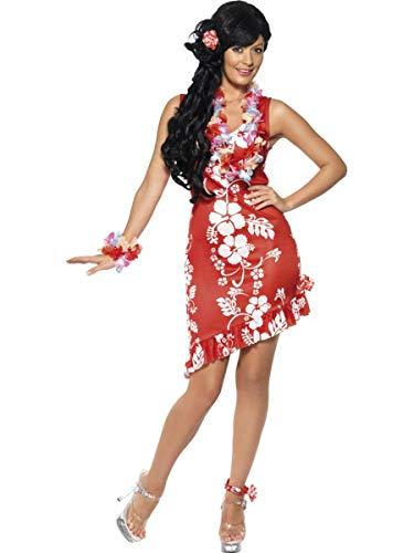3 PC Women's Red & White Hawaiian Luau Tourist Lady Midi Floral Dress Costume ()