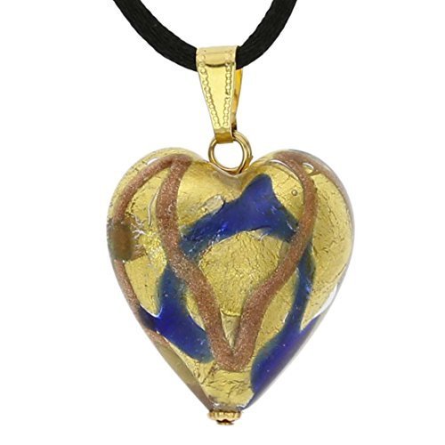 Murano Glass Heart Pendant - Blue Waves Gold by GlassOfVenice