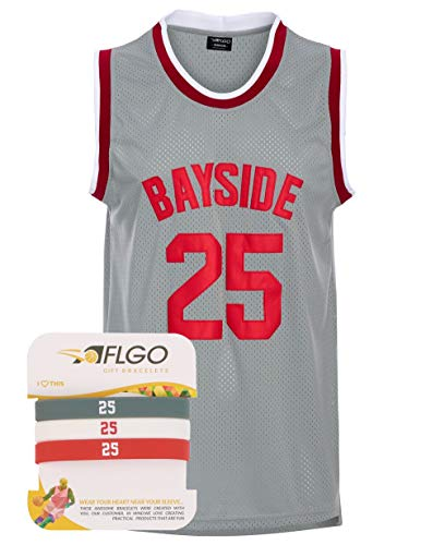 AFLGO Zack Morris 25 Bayside Tigers Basketball Jersey Include Set Wristbands S-XXXL Grey (Grey, ()