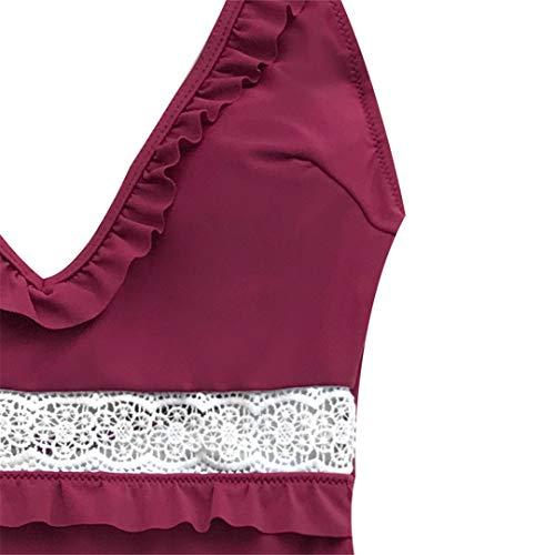 Regolabili Da In Bretelle Costumi Un V Con Pizzo Bagno Scollo Costume Sexy A Avellares Pezzo Donna Burgundy Bordeaux 5UOq6Z