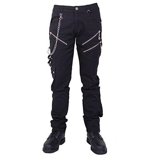 Katoot@ Men Long Pants Casual Low Waist men punk pants Fashion Hip Hop Male Trousers Slim Fit Street Black Outdoor Casual Pants (XL, Black) by Katoot