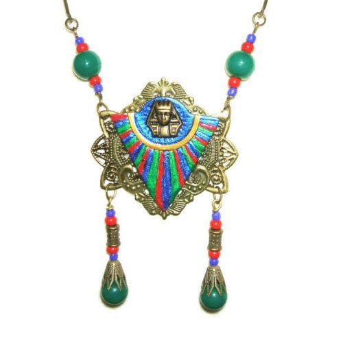 (KING TUT Necklace EGYPTIAN REVIVAL Colorized w Green Glass Drops Designer Signed )