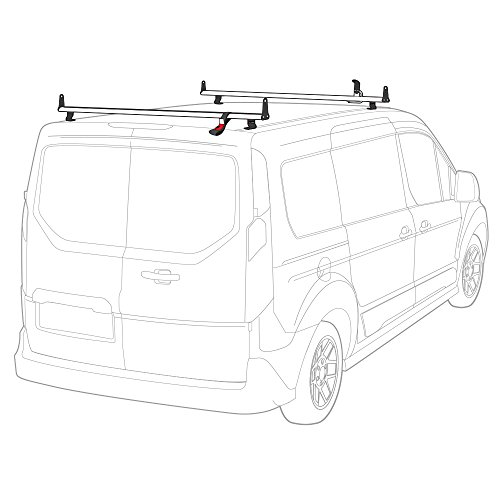 J2000 Aluminum Ladder Roof Rack 2 bar system with accessories for a 2014-Newer Transit Connect