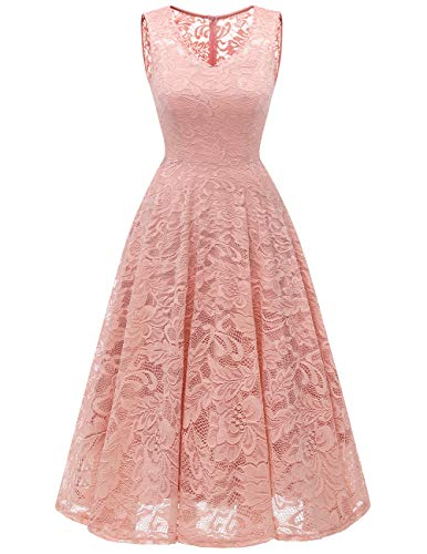Meetjen Women's Cocktail V-Neck Dress Floral Lace Tea-Length Bridesmaid Party Dress Midi Blush M