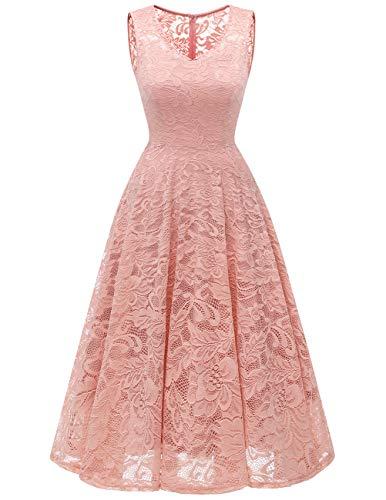 Meetjen Women's Cocktail V-Neck Dress Floral Lace Tea-Length Bridesmaid Party Dress Midi Blush 2XL