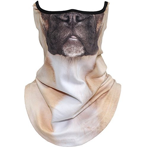 AXBXCX Animal 3D Prints Neck Gaiter Warmer Half Face Mask Scarf Windproof Dust UV Sun Protection for Skiing Snowboarding Snowmobile Halloween Cosplay French Bulldog Pug Dog ()