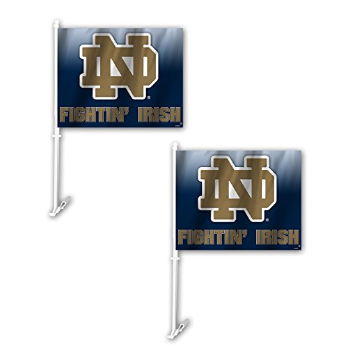 Fremont Die NCAA Notre Dame Fighting Irish Ombre Car Flag (2 Pack), One Size, Blue