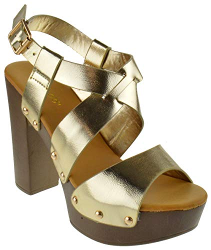 BAMBOO Juliana 22 Womens Open Toe Chunky Heel Faux Wood Platform Sandals Gold Crinkle 6.5
