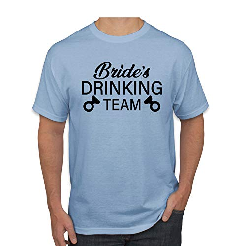 Donkey Threads Bride's Drinking Team Drinking Mens Graphic T-Shirt, Light Blue, X-Large (T-shirt Light Team Drinking)
