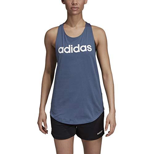(adidas Women's Essentials Linear Loose Fit Tank, Tech Ink/White, Medium)