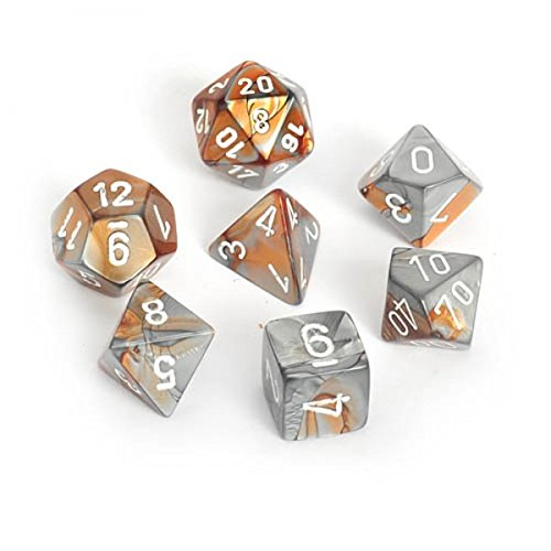 (Chessex Polyhedral 7-Die Gemini Dice Set - Copper-Steel with White CHX-26424)