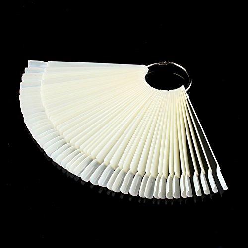 Fashion Nail (50 Sticks Fashion Fake Nail Art Display Stand Practice Nail Gel Manicure False Nails Fan Shape Shelf Color Plate)