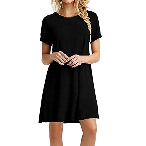 (Sunhusing Womens Solid Color Round Neck Short-Sleeve Dress Loose Casual Swing Mini A Word Short Dress Black)