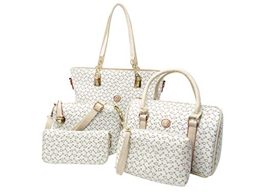 Ready For Anything Handbags for Women Top Handle Satchel Tote Shoulder Bag Purse 5 Piece Set (Cream)