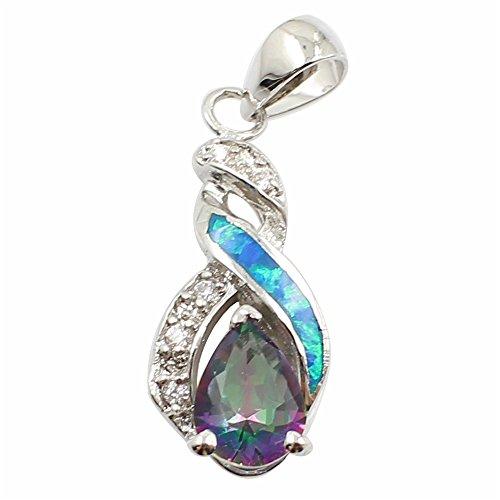 Sinlifu Australian Opal Blue Silver Jewelry Fashion Tear Drop Rainbow Mystic Topaz (Blue Spirals Teardrop Pendant)