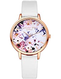 Women Ladies Teenage Girls Fashion PU Leather Strap Flower Casual Quartz Dress Watch