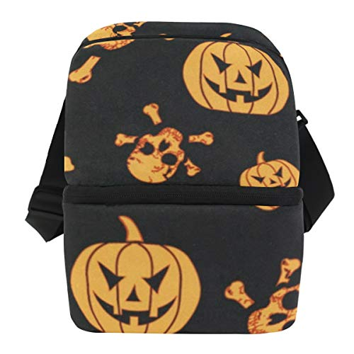 Lunch Bag Halloween Pumpkin And Ghost Insulated Cooler Bag Adult Leakproof Thermos Storage Zipper Tote Bags for -