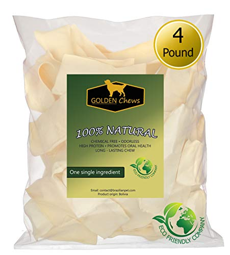 Rawhide Chips Dog - Golden Chews Natural Rawhide Chips - Premium Long-Lasting Dog Treats with Thick Cut Beef Hides (4 Pounds)