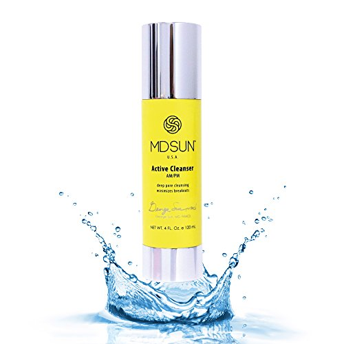 MDSUN Active Cleanser, Alcohol Free, for Face Wash with Pro Vitamin B5, Soy Protein, Panthenol, Lactic & Glycolic Acid, Best to Remove Makeup, Exfoliate, Tighten Pores, Reduce Breakouts, Hydrate 120mL