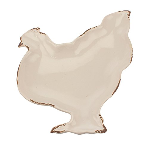 Stonebriar SB-6123A Farmhouse Worn White Ceramic Hen Plate