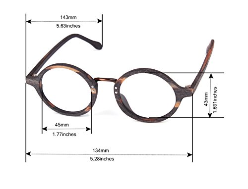 84280d90739 Jual Agstum Retro Round Optical Handmade Glasses Wood Frame Rx ...