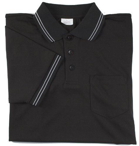 Adams USA Smitty Major League Style Short Sleeve Umpire Shirt with Front Chest Pocket (Black, Medium)