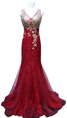 Drasawee Damen Rosa Cocktail Kleid Burgunderrot OnPqOwrF