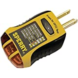 Sperry Instruments GFI6302 GFCI Outlet/Receptacle Tester, Standard 120V AC Outlets, 7 Visual Indication/Wiring Legend, Home & Professional Use, Yellow & Black