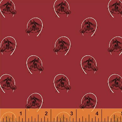 Ascot Horse Head in Horseshoes on Red Cotton Fabric Print By the Yard - Horse Ascot