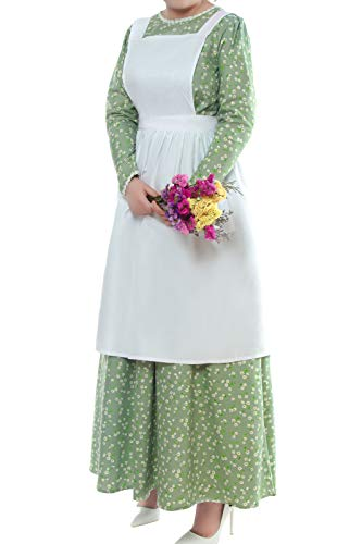 ROLECOS Pioneer Costume Dress Womens American Historical Clothing Modest Prairie Colonial Dress Green S